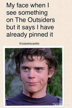 The Outsiders Darry Ponyboy Sodapop Johnny Dally Two-Bit Steve<<< it's funny bc I've already pinned this😂😂😂 The Outsiders Darry, The Outsiders Quotes, The Outsiders Imagines, The Outsiders 1983, Die Outsider, The Outsiders Preferences, Dallas Winston, My Face When, Good Movies