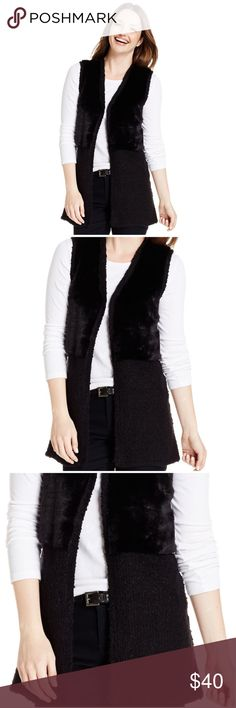 Style & Co Black Faux Fur & Knit Vest Style & Co black faux fur and knit vest will be an amazing addition to your winter wardrobe! The vest is knit with faux fur on the top half of the front of the vest.  *Body 100% acrylic *Faux fur 52% poly/48% acrylic *Machine wash  CLOSET RULES: Bundle Discounts * No Trades * Smoke free * Reasonable offers through offer button Style & Co Jackets & Coats Vests