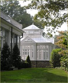 Tanglewood Conservatories created this elegant English greenhouse conservatory with classic elegance. This custom greenhouse in Vermont, New England is Future House, My House, Outdoor Living, Outdoor Spaces, Gazebos, Conservatory, Backyard Landscaping, Landscaping Ideas, Pergola Ideas