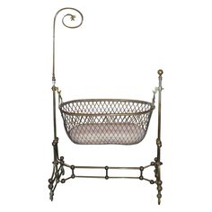 Rare Victorian Brass Swinging Cradle with Original Bed and Lace Antique Furniture, Cool Furniture, Cradles And Bassinets, Lay Me Down, Baby Carriage, Bedding Shop, Tents, Bed Frame, Bobs