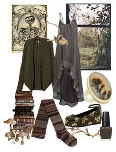 Early Winter Witch by zitahawthorne on Polyvore featuring RVCA, Moth, ASOS, Jamie Joseph, Gosh, OPI, memento, witch, swamp and stregafashion