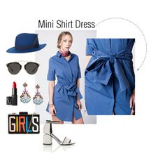 """""""Shirt Dress"""" by shopluzzo on Polyvore featuring Alexander Wang, Christian Dior, NARS Cosmetics, House of Lafayette, Spring, Blue, shirtdress, menswear and minidress"""