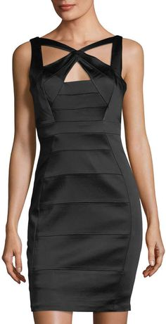210396b8dc5 JAX Stretch-Satin Crisscross Bandage Dress
