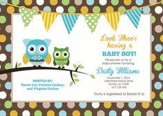 Owl Baby Shower Invitation PDF by YellowDeskDesigns on Etsy