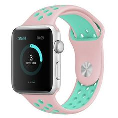 BQD Breathable Sport Band for Apple Watch Series 1 and 2 ($20) ❤ liked on Polyvore featuring jewelry, watches, accessories, fillers, jewelry & watches, pink jewelry, aqua jewelry, aqua watches, unisex watches and sport wrist watch