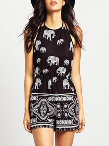 96c60858d8b Black Halter Elephant Tribal Print Playsuit Top Shoes, Tribal Prints,  Fashion Graphic, Jumpsuits