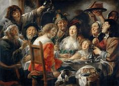 Jacob Jordaens (1593-1678)  The King Drinks, or Family Meal on the Feast of Epiphany, ca.1640  Olio su tela, 152 x 204 cm Musée du Louvre