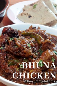 Bhuna chicken masala with step by step phtos & a recipe video. Spicy chicken coated in delicious bhuna masala. Serve this delicious chicken bhuna masala with Roti/Naan. Chicken Recipes At Home, Chicken Snacks, Spicy Chicken Recipes, Veg Recipes, Cooking Recipes, Indian Chicken Dishes, Indian Chicken Recipes, Indian Food Recipes, Kitchens