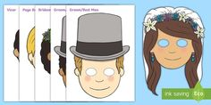 * NEW * Wedding Role-Play Masks - marriage, wed, royal wedding