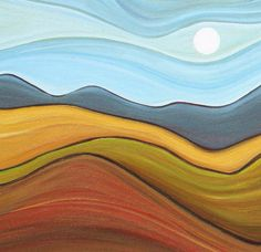 abstract painting abstract landscape prairie by SageMountainStudio