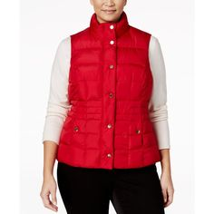Charter Club Plus Size Quilted Puffer Vest, ($20) ❤ liked on Polyvore featuring plus size women's fashion, plus size clothing, plus size outerwear, plus size vests, new red amore, red quilted vest, plus size quilted vest, puffer vest, quilted puffy vest and red puffer vest