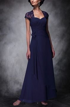 Lace Cap Sleeve Ruching Mother of Bride's Dress  Style Code: 10296  US$129.00