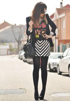 Black blazer, AC/DC shirt and black and white diagonal striped skirt