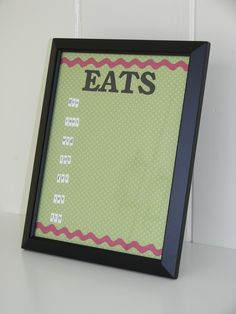 MOPS craft for 2011-2012. Dry erase menu board. Made with scrapbook paper, stickers and 8 x 10 picture frame.