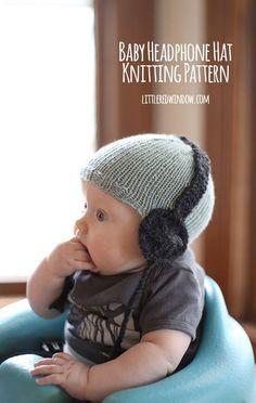 Knit Baby Headphone Hat free knitting pattern! | littleredwindow.com