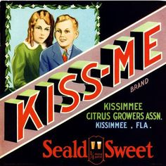 Florida FL - Kissimmee Kiss-Me Boy and Girl Orange Crate Label Art Print