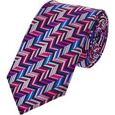 Pink Silk Zig Zag Tie