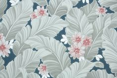 1940's Vintage Wallpaper - Gray and White Leaves with Pink Flowers on Blue