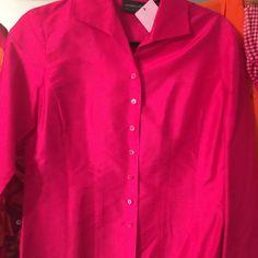 Hot pink longsleeved blouse Longsleeve hot pink silk button front blouse Tops Blouses
