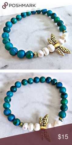Aqua Stoned Pearls Bracelet ✨Aqua Stoned Pearl✨  Materials: gold plated dragonfly pendant, aqua stones, freshwater white pearls, elastic stretch bracelet for the perfect fit.  About the stone: White Pearls are a symbol of protection, courage, and strength. It is also said to deflect any negative energy.   Handmade in California, U.S.A. Whimsy Jewelry Bracelets
