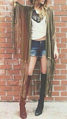 Boho outfit,  fringe kimono, jean shorts,tall boots