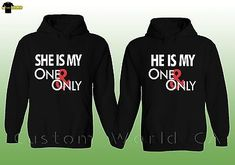 Couple Hoodie Sweater He She is My One and Only His and Hers Matching  Hoodie