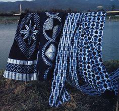 Indigo shibori patterns, Japan