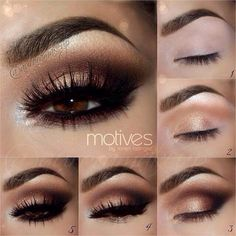 Smokey gold/dark brown (false lashes to get the effect)