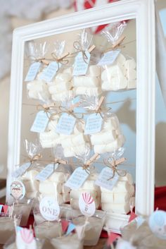 Marshmallow/Cloud Favor Bags from a Rustic Hot Air Balloon Birthday Party via Kara's Party Ideas KarasPartyIdeas.com (21)