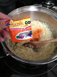 the (Goya) Sazón spice packet, mix it in.Add the (Goya) Sazón spice packet, mix it in. Puerto Rican Recipes Rice, Mexican Rice Recipes, Mexican Dishes, Mexican Food Recipes, New Recipes, Cooking Recipes, Favorite Recipes, Goya Recipes Puerto Rico, Puerto Rican Beans