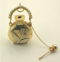 1918 antique perfume bottle 14k gold ruby and pearls
