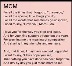 MotherS Day Poem Thanks Mom Miss You Xoxo Courtesy Of Heather
