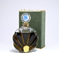 1920s Nestly Chypre perfume bottle, clear glass, opal glass stopper, label, box (worn). 4 1/4 in.