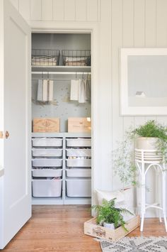home office craft closet makeover with ikea trofast european inspired crafting room neutral interior closet organization craft supply organization Home Office Closet, Home Office Decor, Diy Home Decor, Entry Closet, Spare Room Closet, Closet Bedroom, Small Closet Storage, Tiny Closet, Small Closets