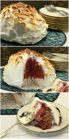 A gorgeous & Easy Dessert - Dark Chocolate Raspberry Baked Alaska - Low Calorie, Low Fat - Pin it to your Dessert board