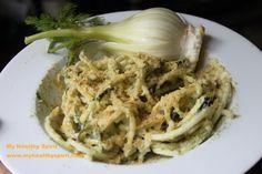 Raw Spaghetti mit cremiger Fenchel-Dill Sauce a la Cabonara ( die ist wirklich der Hammer!)