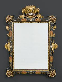 IMPORTANT MIRROR WITH PAINTED LACQUER, Regency and later, Venice.  Carved wood, parcel-true and finely lacquered and inlaid with mother of pearl, flowers, leaves, cartouches and decorative frieze.