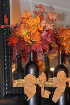 Wine Bottle Fall Decoration--this sticks with the theme!
