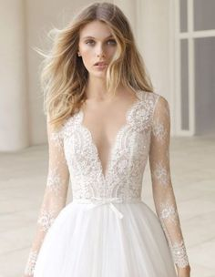 rosa clara 2019 couture bridal long sleeves deep v neck heavily embellished bodice romantic princess a line wedding dress sheer button back chapel train zv -- Rosa Clará Couture 2019 Wedding Dresses 2 In 1 Wedding Dress, Rosa Clara Wedding Dresses, Ethereal Wedding Dress, Wedding Dress Gallery, Long Sleeve Wedding, Best Wedding Dresses, Bridal Dresses, Wedding Gowns, Lace Wedding