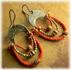 Casbah Earrings Brass Tribal Jewelry Rustic Primitive Red Orange HandmadeOOAK