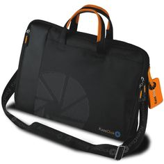 KAOS CLICK- NON STOP: Computer shoulder bag  - Material: Nylon with faux leather inserts - Size: 38 x 30 x 5.5 cm