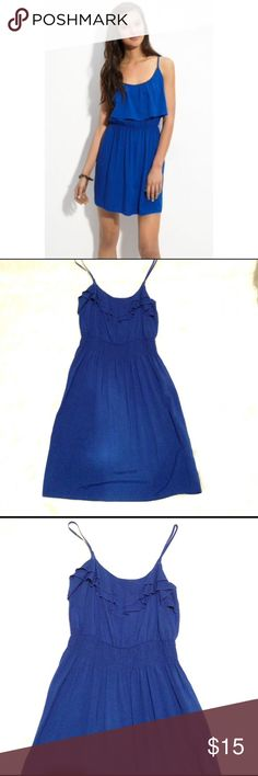 Blue Ruffle Top Summer Dress Cute spring / summer royal blue ruffled top dress. Size XS. Brand is Mimi Chica bought from Nordstrom bp. Fits true to size and has a cinched waist. Only worn a couple of times for grad parties. Has a couple loose strings near the top / under arm area. Mimi Chica Dresses Mini