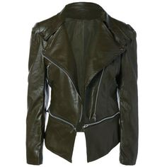 Zippered Length Adjustable Faux Leather Biker Jacket ($26) ❤ liked on Polyvore featuring outerwear, jackets, faux leather motorcycle jacket, vegan leather jacket, faux leather moto jacket, vegan leather moto jacket and faux leather zip jacket