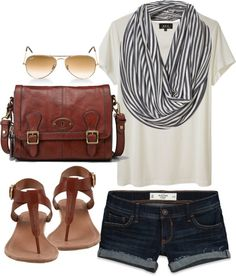 Dark blue shorts | white Tee | infinity scarf | brown leather accesoiries