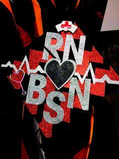 Nursing school graduation cap. RN BSN Graduate Chevron. EKG. Nurse. Grad. 2013.  Chevron graduation cap. Nursing grad cap.