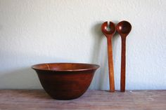 vintage large wood bowl and utensils by aneedleinthehay on Etsy, $20.00
