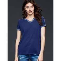 Gap Women Embroidered Tee ($30) ❤ liked on Polyvore