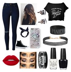 """P!ATD CONCERT"" by leilani-875 ❤ liked on Polyvore featuring Lime Crime, OPI, Humble Chic, Boohoo and Converse"