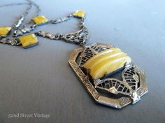 Art Deco Czech Glass Necklace Yellow Art by 52ndstreetvintage, $115.00