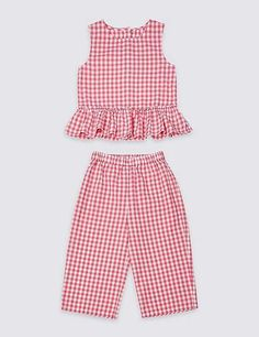 Marks and Spencer 2 Piece Pure Cotton Top & Bottom Outfit Months - 7 Years) Baby Girl Dress Patterns, Baby Clothes Patterns, Little Girl Dresses, Baby Dress Tutorials, Skirt Patterns, Coat Patterns, Blouse Patterns, Baby Patterns, Knitting Patterns